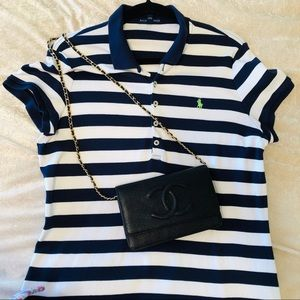 Ralph Lauren Mesh Polo Striped Navy Mini Dress L